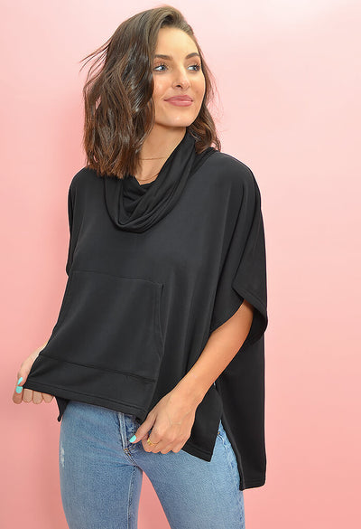BB Dakota Mission to Chill Pullover Top in Black-front