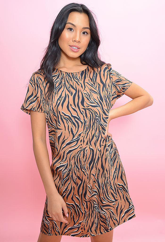 Liv Mini Shift Dress-Camel