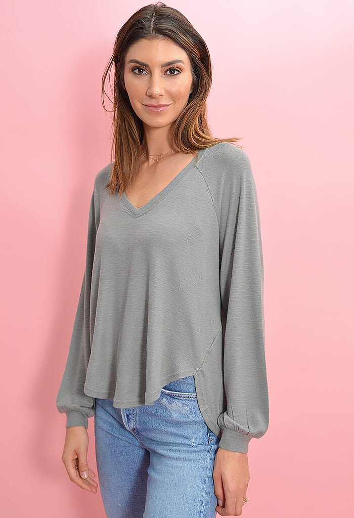 PLIRA SLUB SWEATER TOP-Ash Green