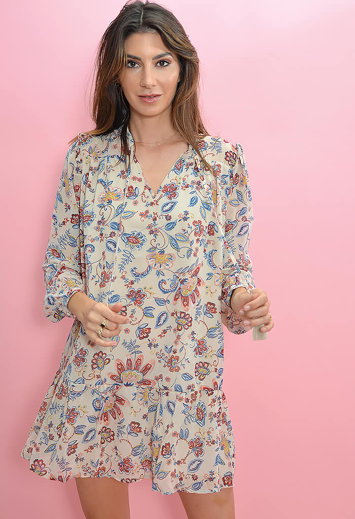KK Bloom Boutique Longsleeve Floral Print Dress-front