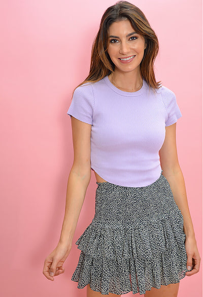 KK Bloom Boutique Lilac Ribbed Tee-front