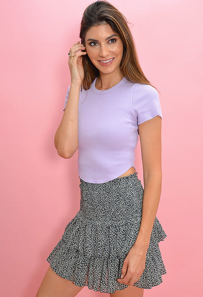 KK Bloom Boutique Lilac Ribbed Tee-side