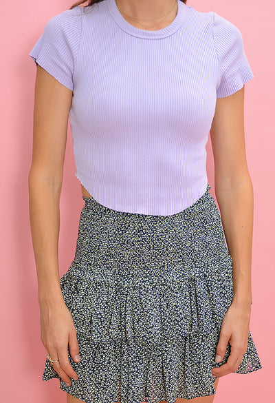 KK Bloom Boutique Lilac Ribbed Tee-zoom