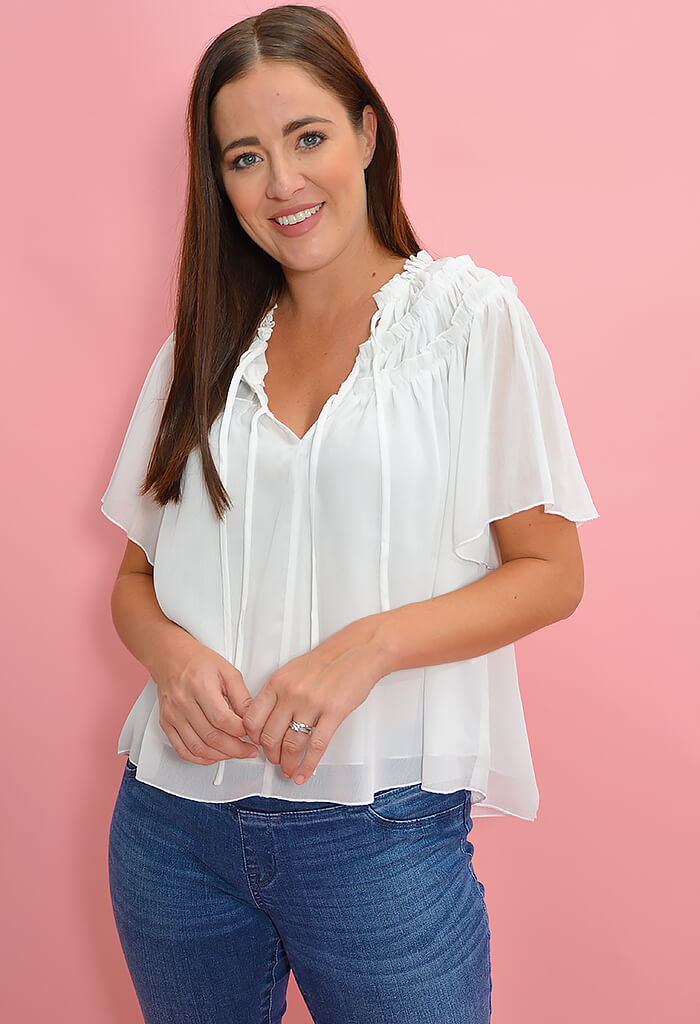 Minkpink Chiffon Flutter Top in Cream-front