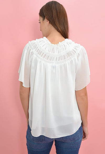 Minkpink Chiffon Flutter Top in Cream-back
