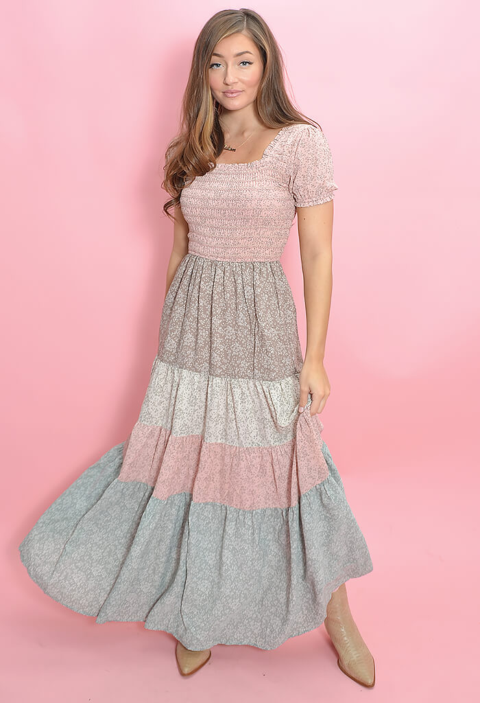 KK Bloom Boutique Wonderland Maxi Dress in Blush-front