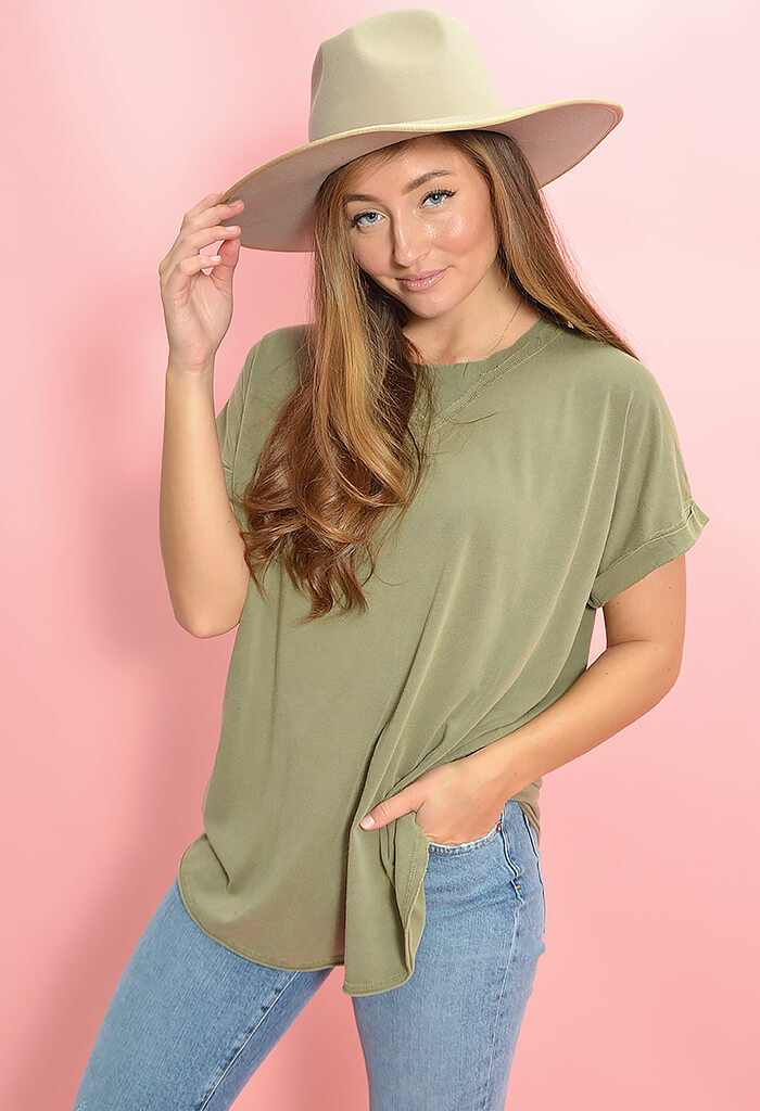 KK Bloom Boutique Olive Crew Neck T-Shirt-front