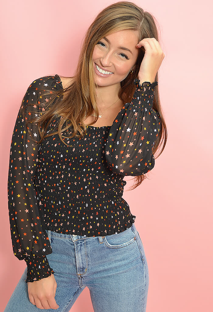 KK Bloom Boutique Starry Night Smocked Top-front