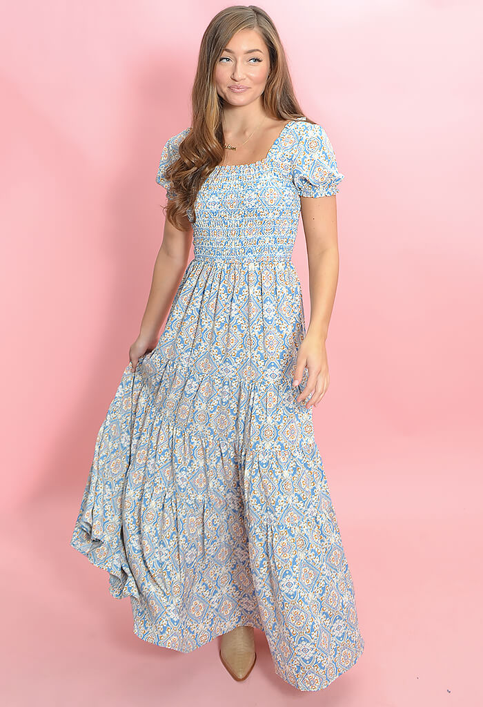 KK Bloom Boutique Wonderland Maxi Dress in Blue-front
