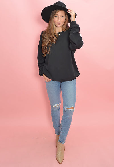 KK Bloom Boutique Black Binx Pullover Sweatshirt-full length