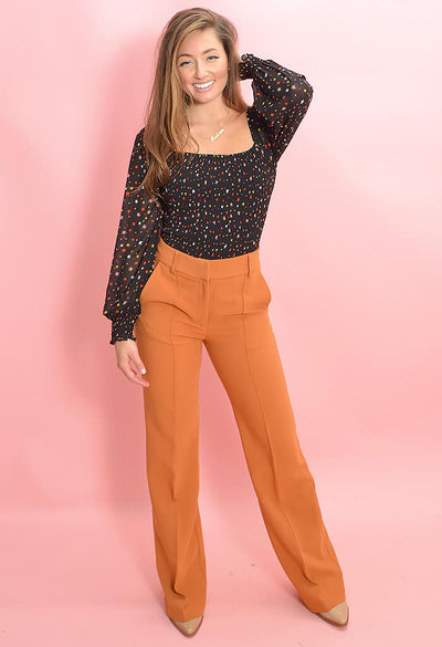 KK Bloom Boutique Pumpkin Pleat Front Zoey Pants-front