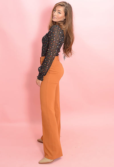 KK Bloom Boutique Pumpkin Pleat Front Zoey Pants-side