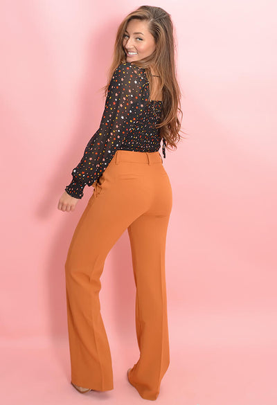 KK Bloom Boutique Pumpkin Pleat Front Zoey Pants-back