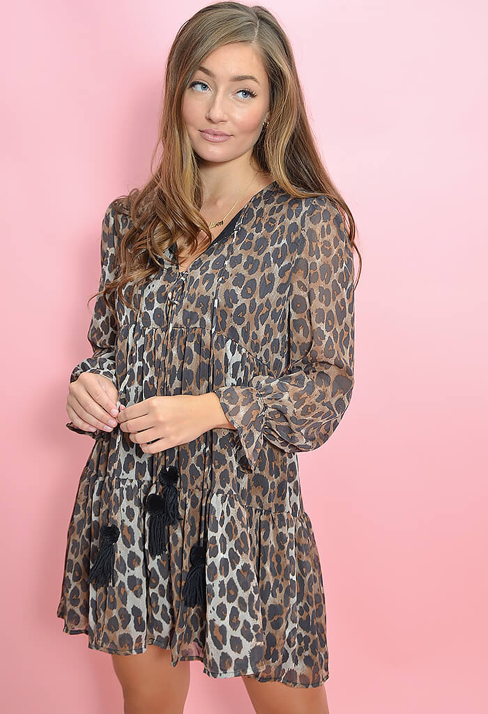 KK Bloom Boutique Long Sleeve Leopard Print Mini Dress-front