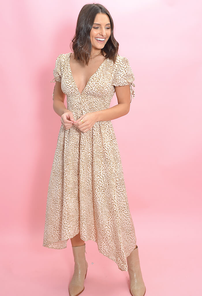 KK Bloom Boutique Lana Leopard Print Midi Dress-full length