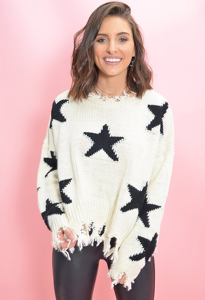 KK Bloom Boutique Lucky Star Printed Sweater in Cream-front