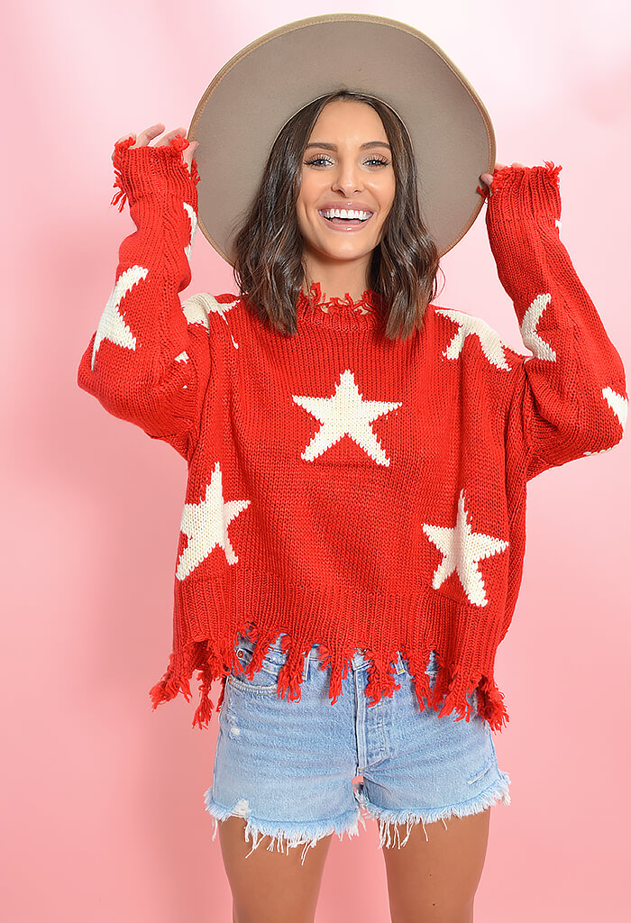 KK Bloom Boutique Lucky Star Print Sweater in Red-front