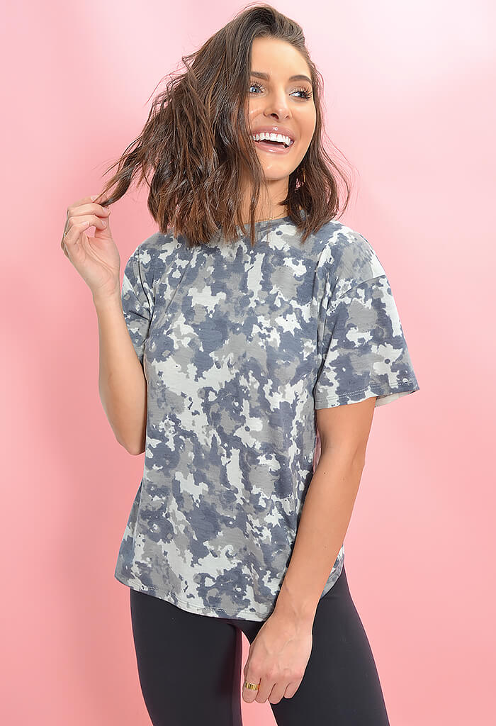 KK Bloom Boutique Morgan Grey Camo Print Tee-front