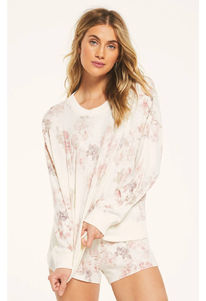 Z Supply Elle Floral Long Sleeve Sweater-front