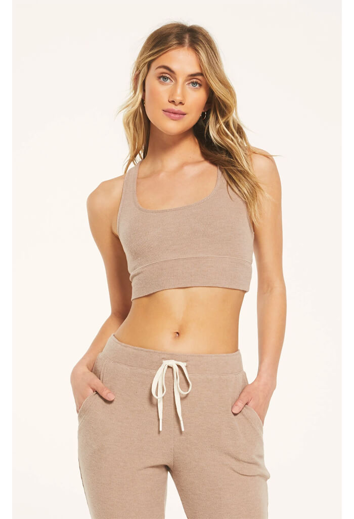 Z Supply Sia Rib Tank Bra in Cocoa-front