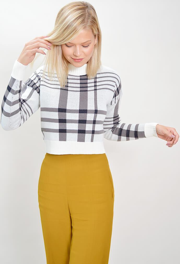 Anna Crop Check Sweater