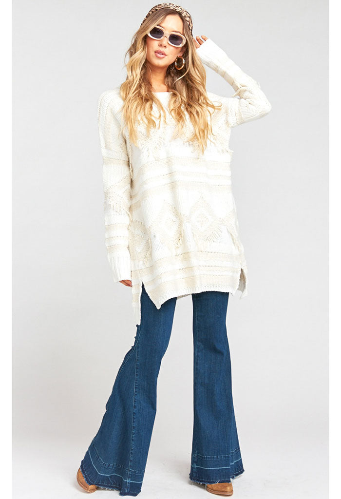 Canyon Sweater ~ Geo Fringe Cream Knit