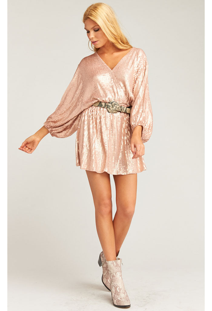 Genevieve Mini Dress-Rosegold Sequins