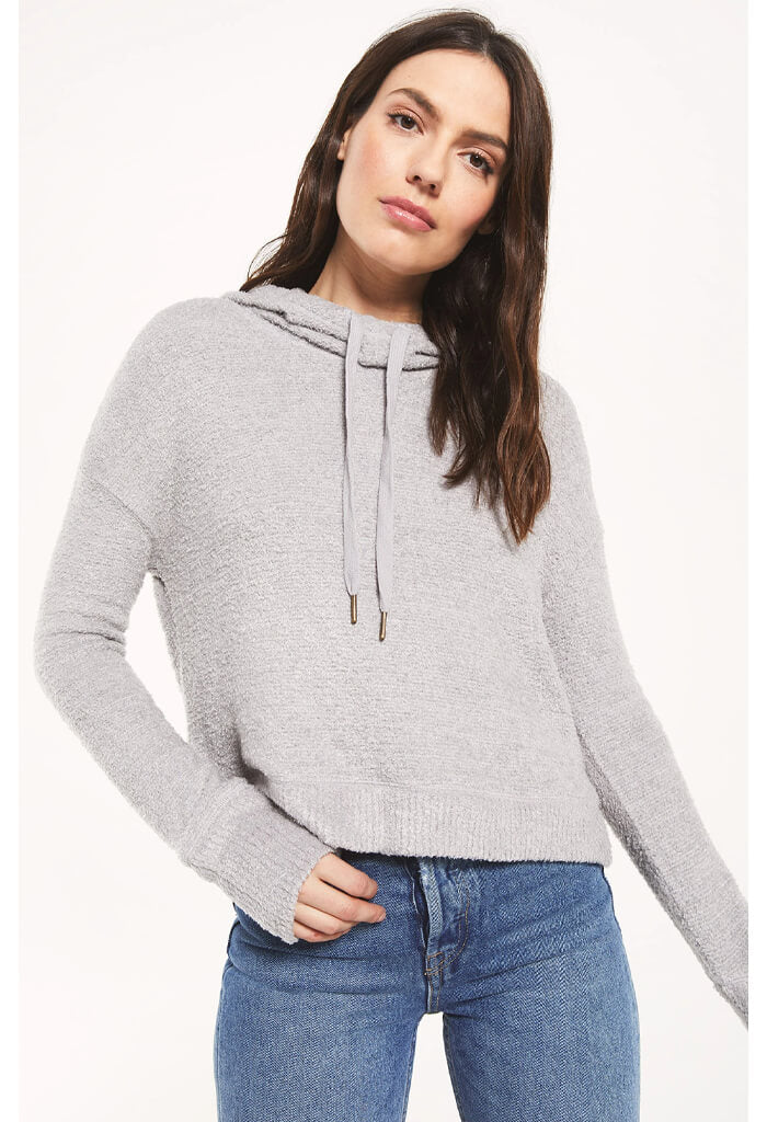 Z Supply Kacey Feather Hoodie in Heather Grey-front