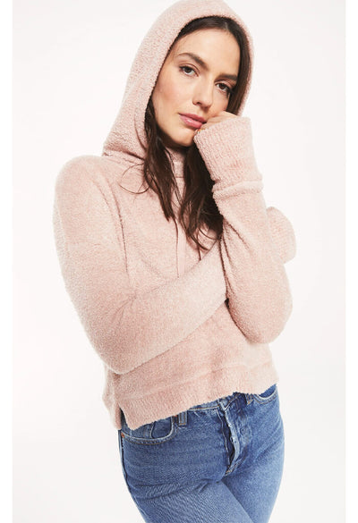 Z Supply Kacey Feather Hoodie in Silver Pink-hood up