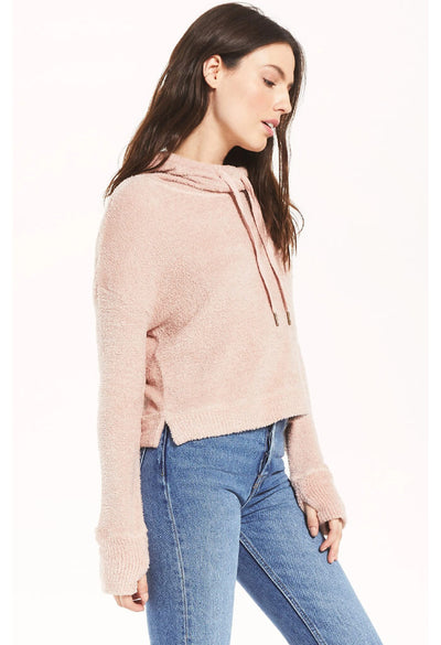 Z Supply Kacey Feather Hoodie in Silver Pink-side