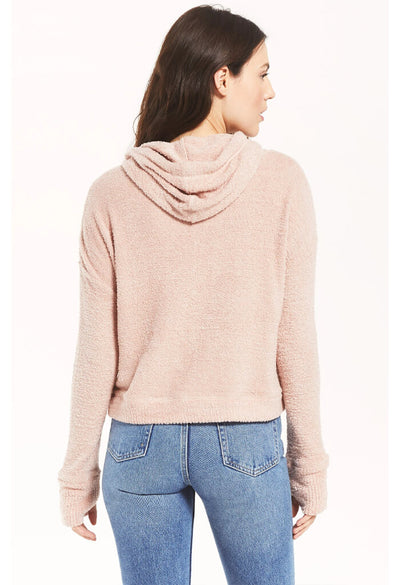 Z Supply Kacey Feather Hoodie in Silver Pink-back