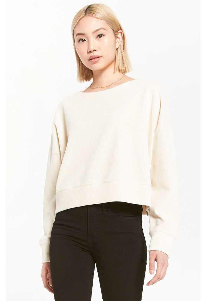 Z Supply Astrid Cord Pullover in Bone-front