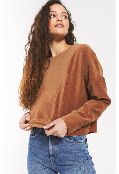 Z Supply Astrid Cord Pullover in Camel-front