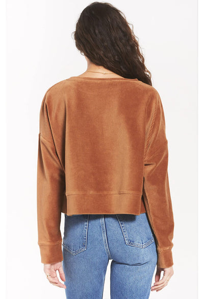 Z Supply Astrid Cord Pullover in Camel-back