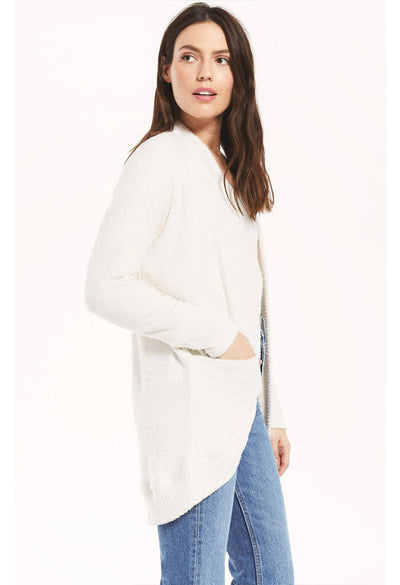 Z Supply Kaye Feather Cardigan in Bone-side pocket
