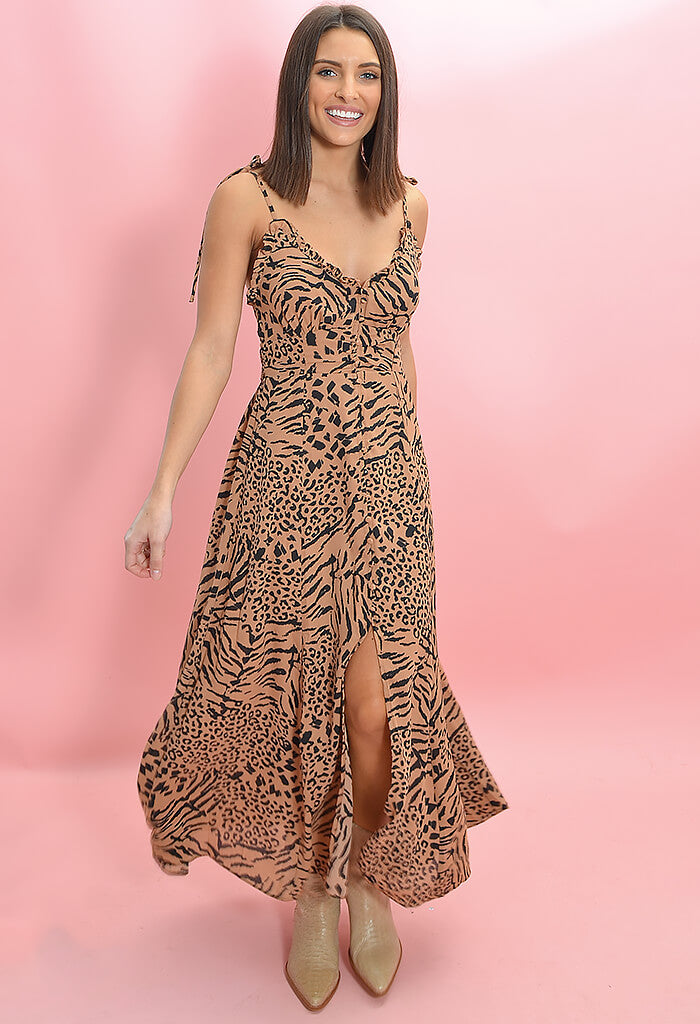Buddy Love Dina Button Down Midi Dress in Egypt Print-front