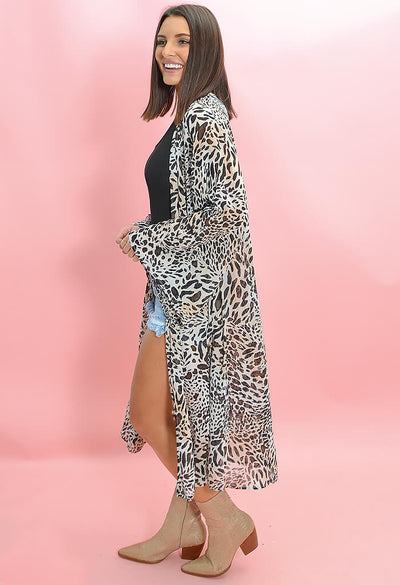 Buddy Love Macie Midi Duster in Lagos Print-side