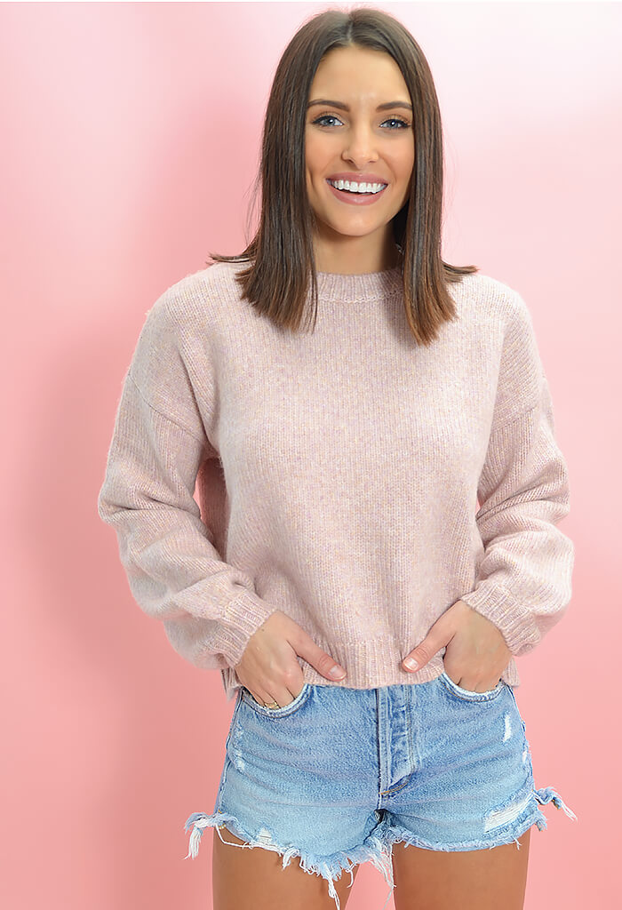 Minkpink Karter Knit Sweater in Lilac-front