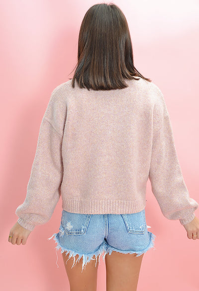 Minkpink Karter Knit Sweater in Lilac-back