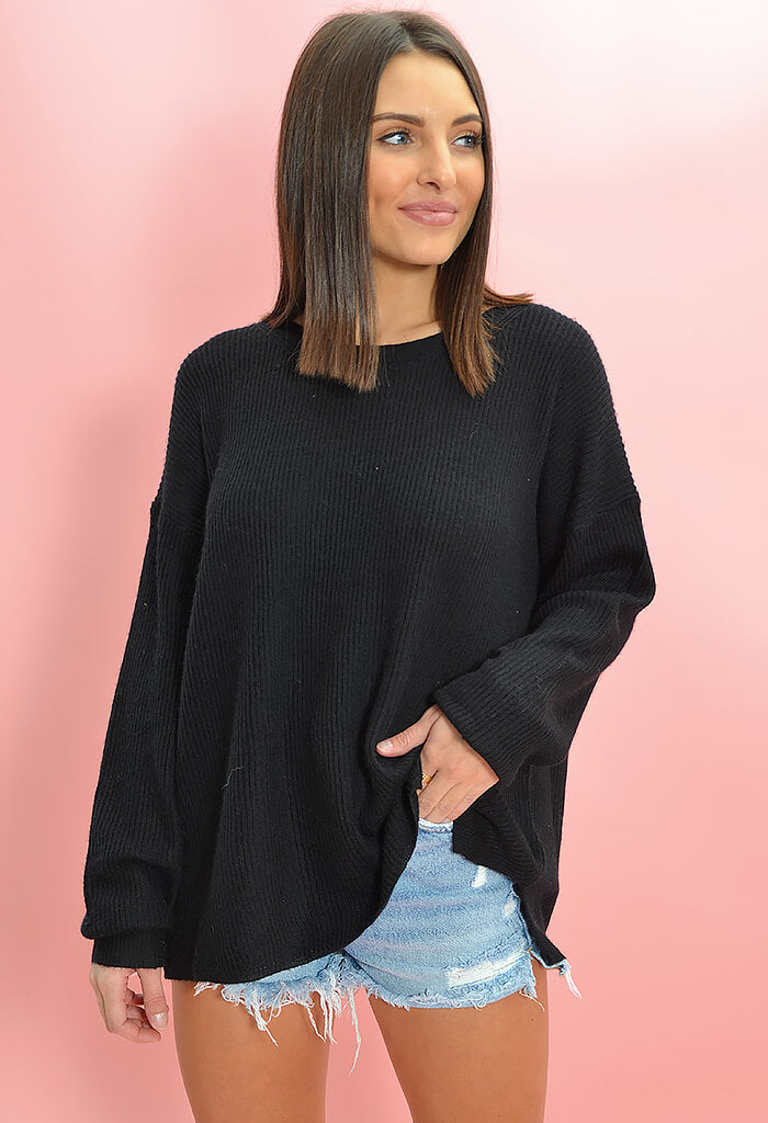 KK Bloom Boutique Maddie Sweater in Black-front