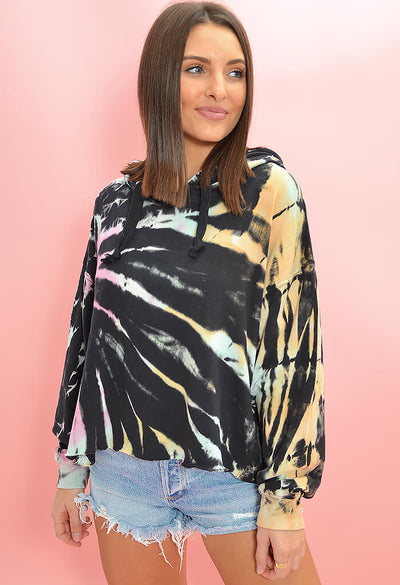 Vintage Havana Multi Color Tie Dye Night Hawk Hoodie-front