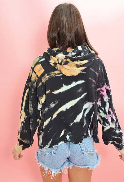 Vintage Havana Multi Color Tie Dye Night Hawk Hoodie-back