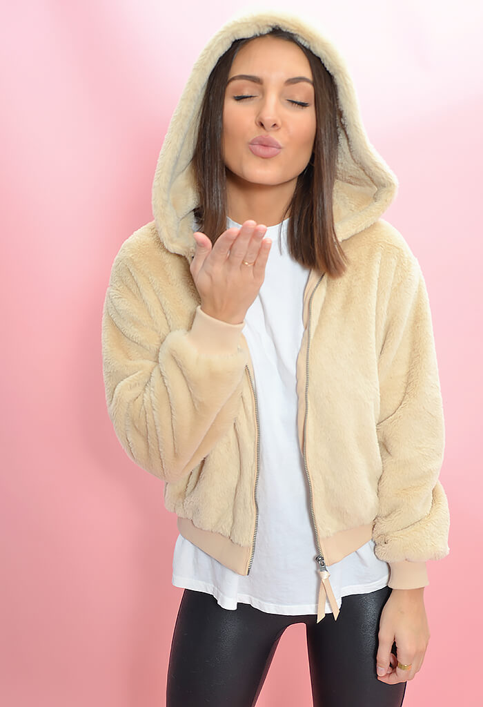 Z Supply London Faux Fur Bomber Jacket-hood up