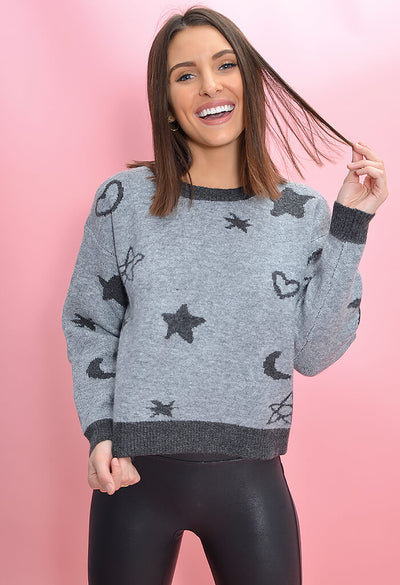 KK Bloom Boutique Ditsy Doodle Star Printed Sweater-front