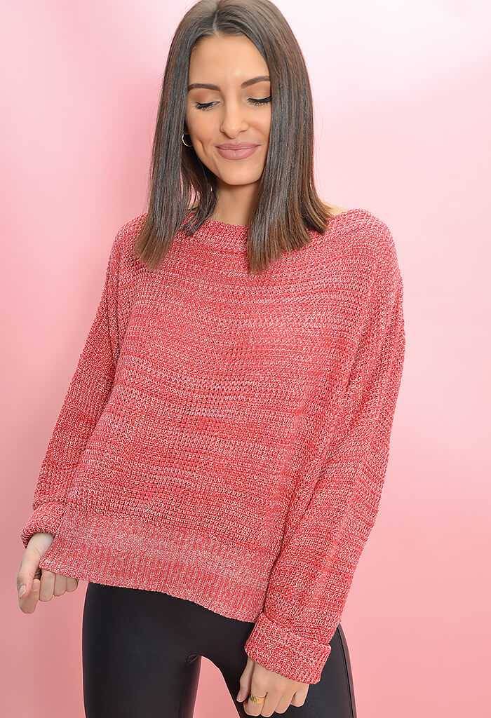 Minkpink Jayden Knit Sweater in Raspberry-front