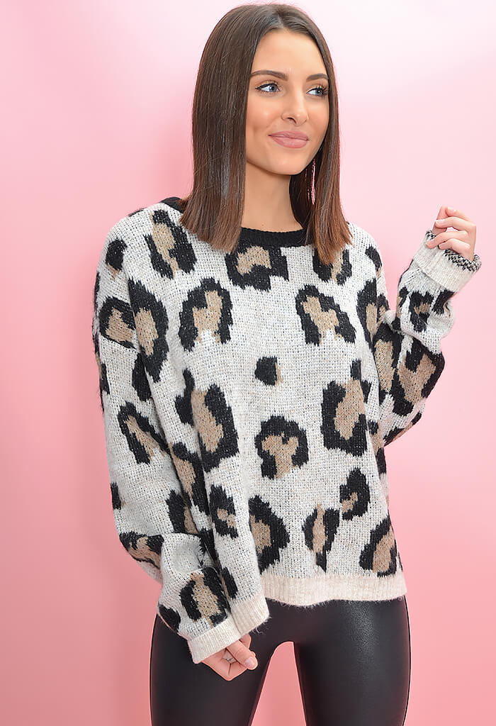 KK Bloom Boutique Cozy Kitten Sweater in Leopard Print-front