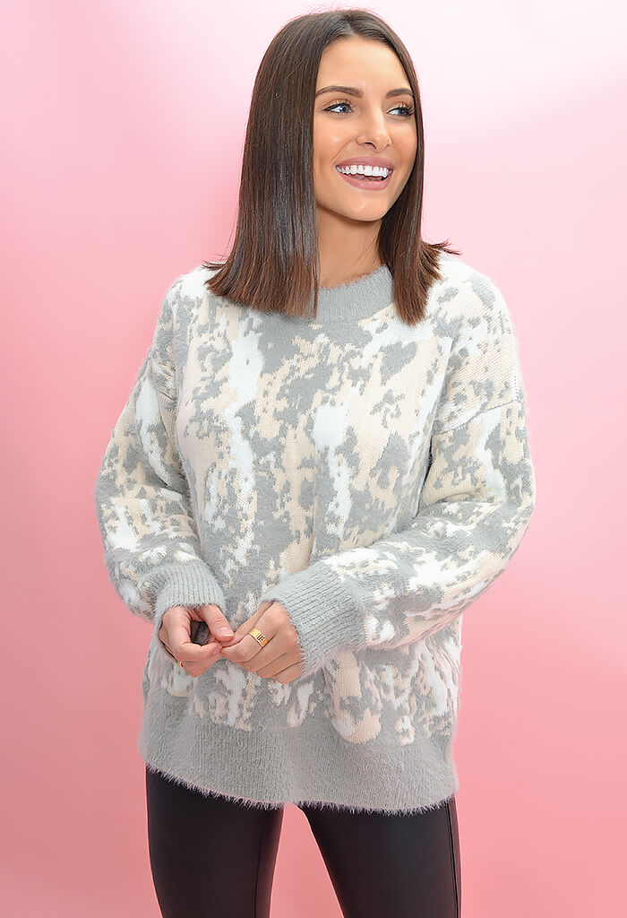 FRNCH Bella Sweater - Pink and Grey Abstract Print-full length
