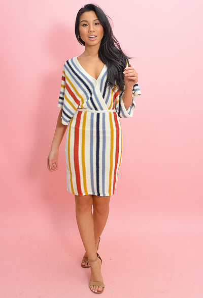 Frances Oatmeal Stripe Dress