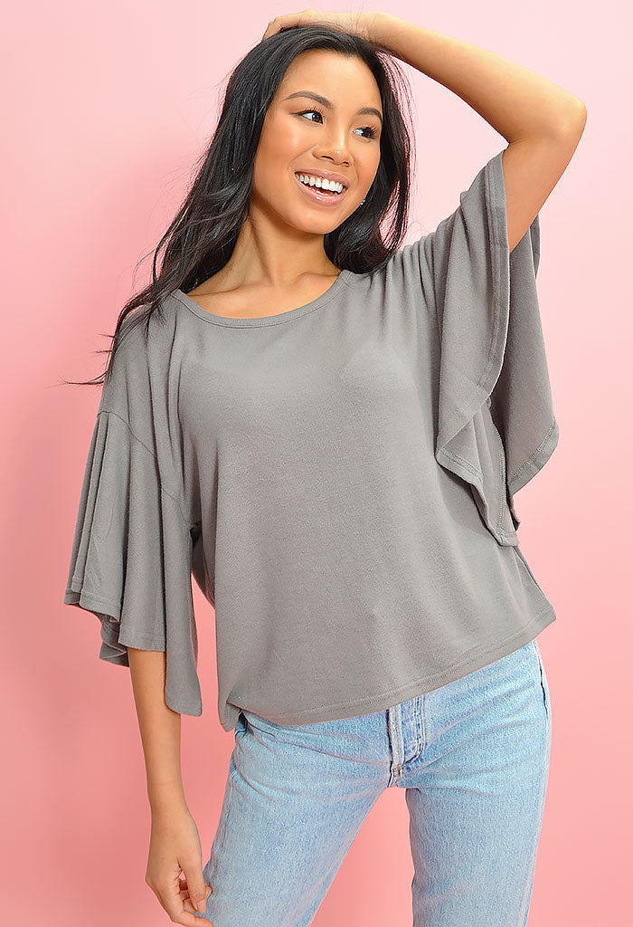 Takin' Knit Slow Top- Ash Grey