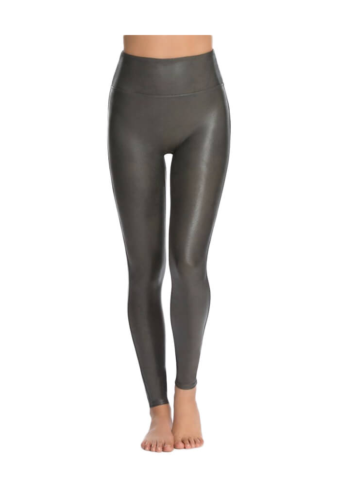 Spanx Gunmetal Faux Leather Leggings